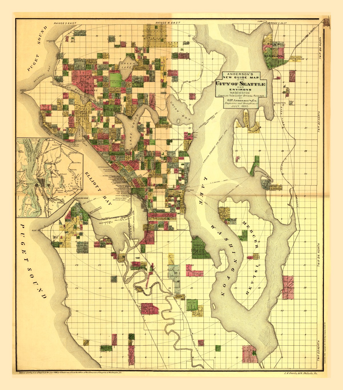 Seattle, Washington 1890 - Kroll Antique Maps